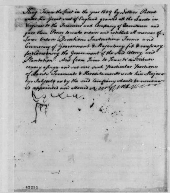 Richard Bland, 1753, Draft Statement on Pistole Fee and Land Patents
