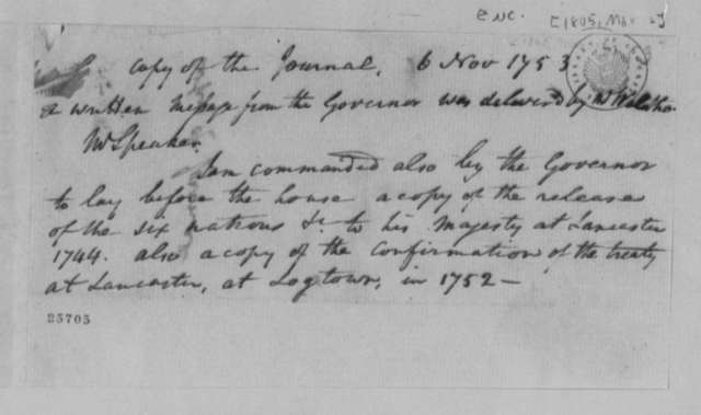 Virginia General Assembly, November 6, 1753, Note on Journal Copy