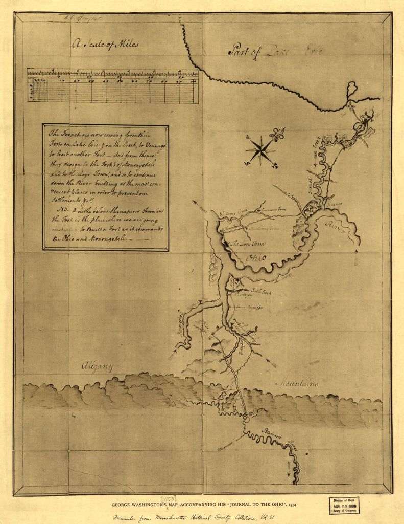 "George Washington's map, accompanying his ""journal to the Ohio"", 1754."