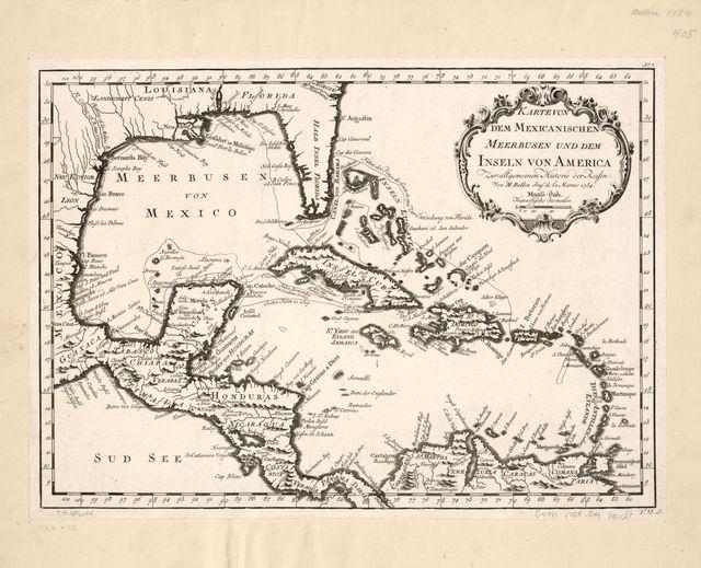 Karte von dem Mexicanischen Meerbusen und dem Inseln von America, zur Allgemeinen Historie der Reisen.