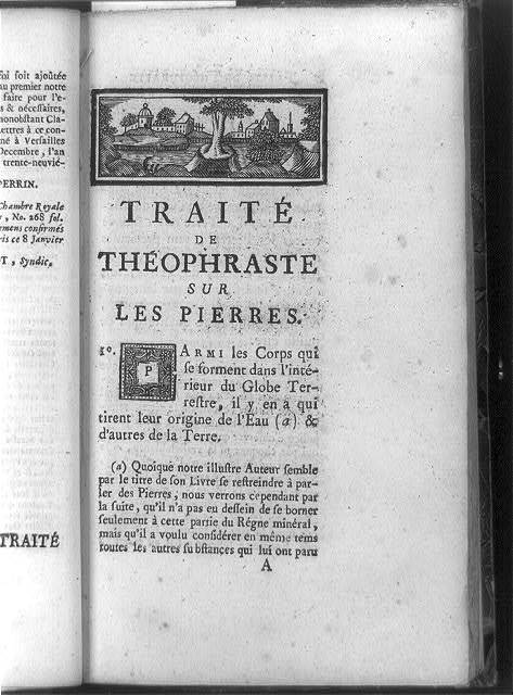 [Title page of Traite des pierres, with townscape headpiece and decorated initial P]