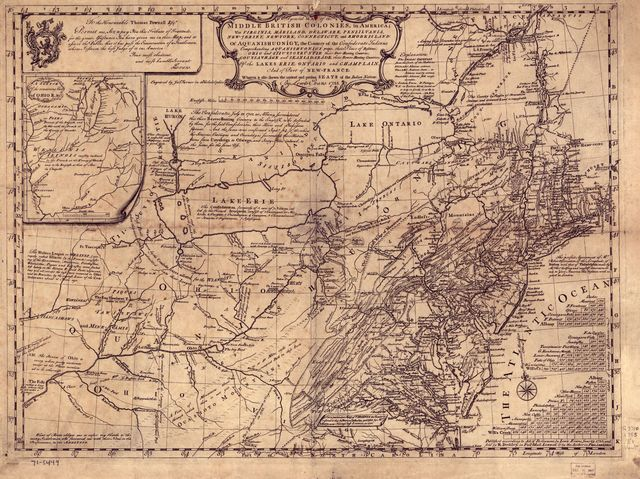 A general map of the middle British colonies, in America; viz. Virginia, Mariland, Delaware, Pensilvania, New-Jersey, New-York, Connecticut, and Rhode Island: Of Aquanishuonîgy, the country of the Confederate Indians; comprehending Aquanishuonîgy proper, their place of residence, Ohio and Tïiuxsoxrúntie, their deer-hunting countries, Couxsaxráge and Skaniadarâde, their beaver-hunting countries; of the Lakes Erie, Ontário, and Champlain, and part of New-France: Wherein is also shewn the antient and present seats of the Indian nations.