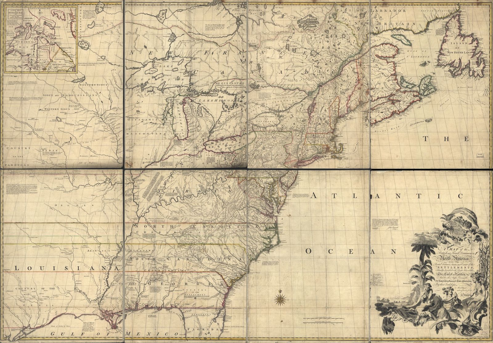 A map of the British and French dominions in North America, with the roads, distances, limits, and extent of the settlements, humbly inscribed to the Right Honourable the Earl of Halifax, and the other Right Honourable the Lords Commissioners for Trade & Plantations,