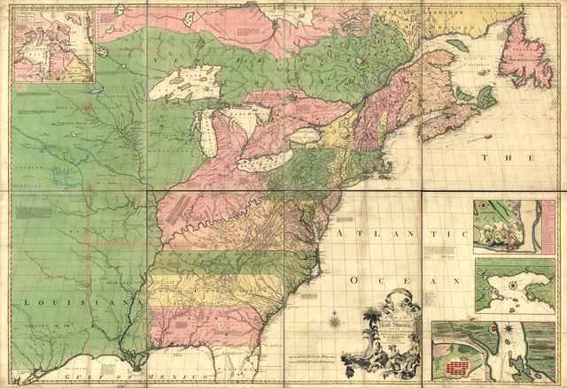 A map of the British and French dominions in North America, with the roads, distances, limits, and extent of the settlements,