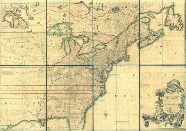 A map of the British and French dominions in North America with the roads, distances, limits, and extent of the settlements, humbly inscribed to the Right Honourable the Earl of Halifax, and the other Right Honourable the Lords Commissioners for Trade & Plantations,