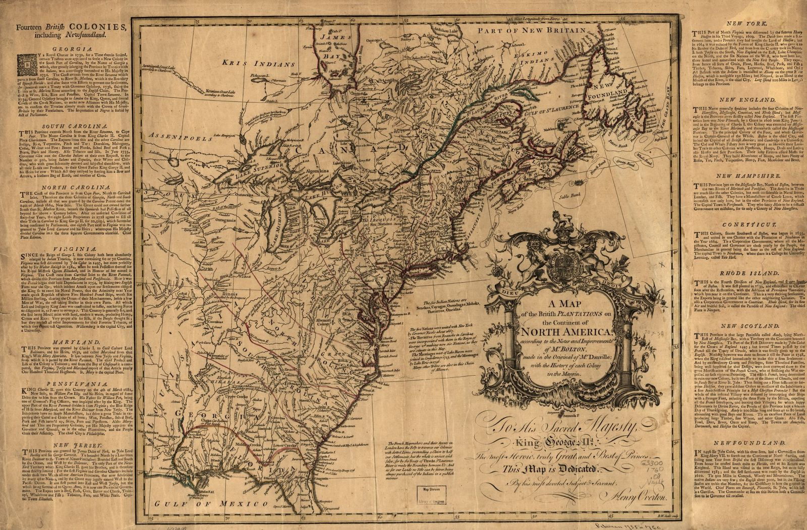 A map of the British plantations on the continent of North America, according to the notes and improvements of Mr. Bolton, made in the original of Mr. Danville; with the history of each colony in the margin.