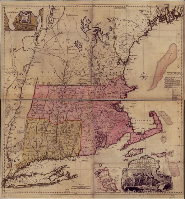 A map of the most inhabited part of New England; containing the provinces of Massachusets Bay and New Hampshire, with the colonies of Konektikut and Rhode Island, divided into counties and townships: The whole composed from actual surveys and its situation adjusted by astronomical observations.