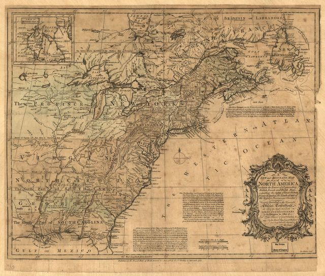 A new and accurate map of North America : wherein the errors of all proceeding British, French and Dutch maps, respecting the rights of Great Britain, France & Spain & the limits of each of his majesty's provinces, are corrected, /