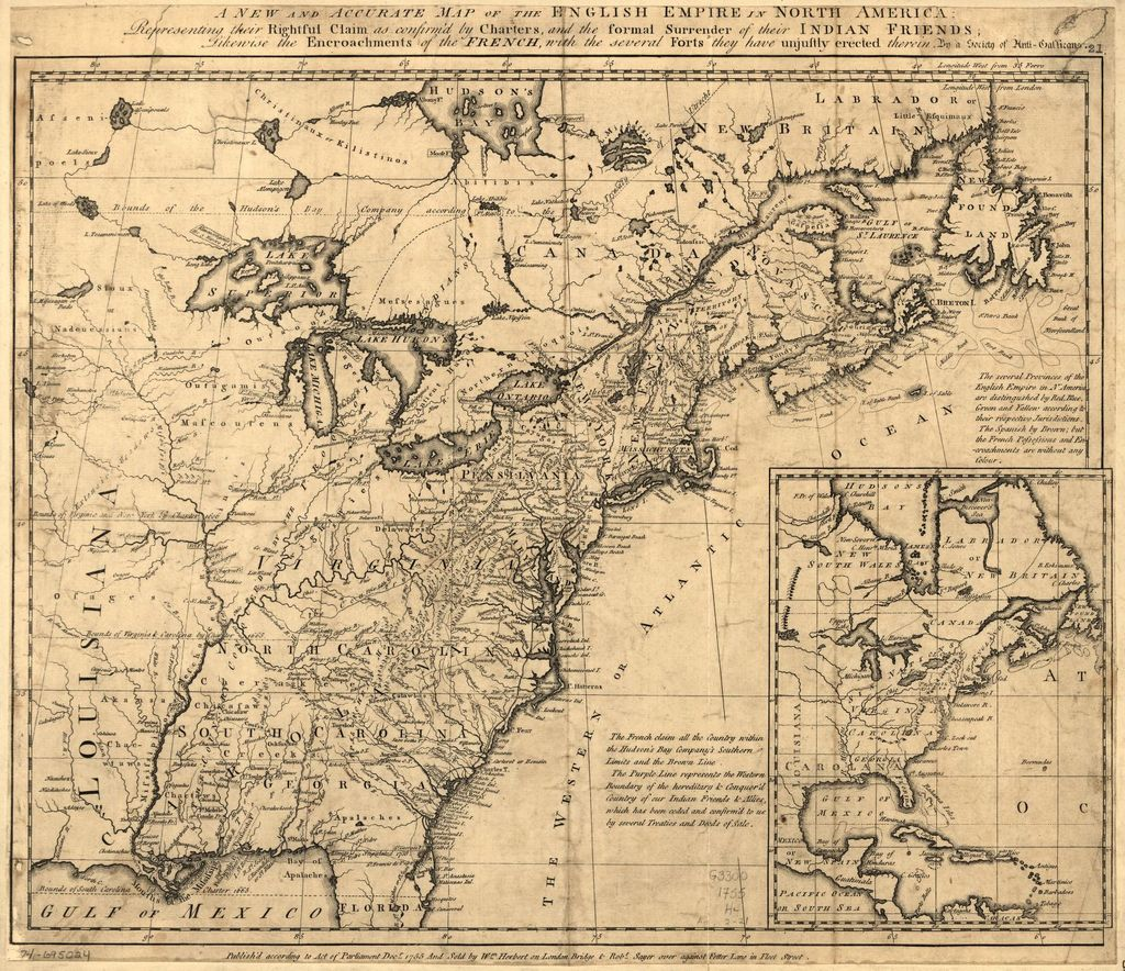 A new and accurate map of the English empire in North America: Representing their rightful claim as confirm'd by charters, and the formal surrender of their Indian friends; likewise the encroachments of the French, with the several forts they have unjustly erected therein.
