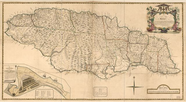 A new map of Jamaica; in which the several towns, forts, and settlements, are accurately laid down as well as ye situations & depts. of ye most noted harbours & anchoring places ...
