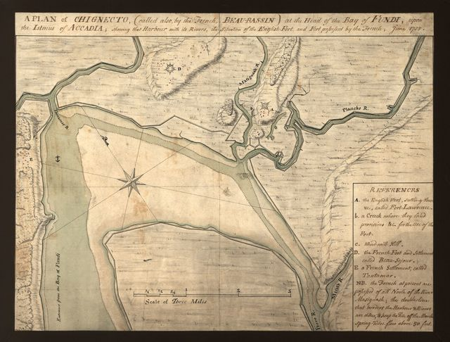 A plan of Chignecto (called also by the French Beau-Bassin) at the head of the Bay of Fundi upon the Istmus of Accadia shewing that harbour with its rivers, the situation of the English fort and fort possessed by the French, June 1755.