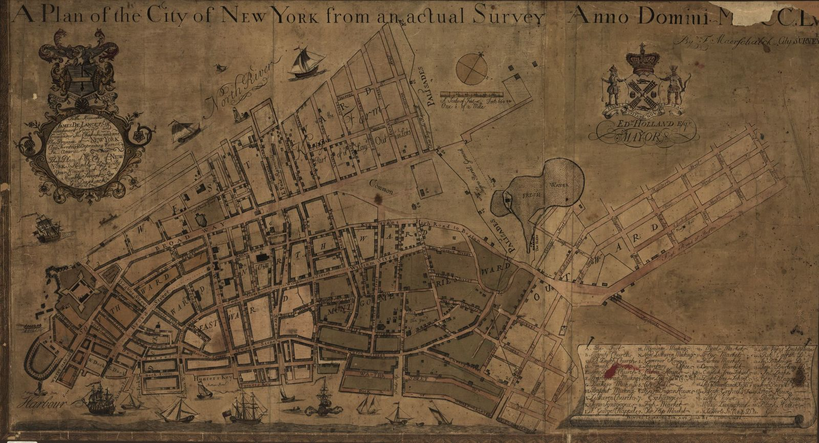 A plan of the city of New York from an actual survey, anno Domini, M[D]CC,LV