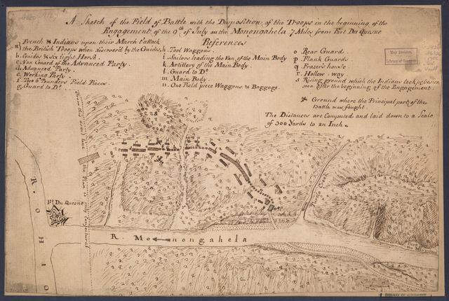 A sketch of the field of battle with the disposition of the troops in the beginning of the engagement of the 9th of July on the Monongahela 7 miles from Fort Du Quesne.
