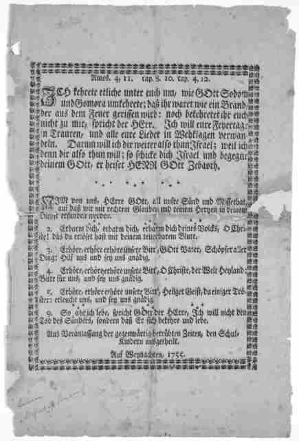 Amos 4, 11, cap. 8, 10. ca. 4, 12. ... Auf Weynachten, 1755.