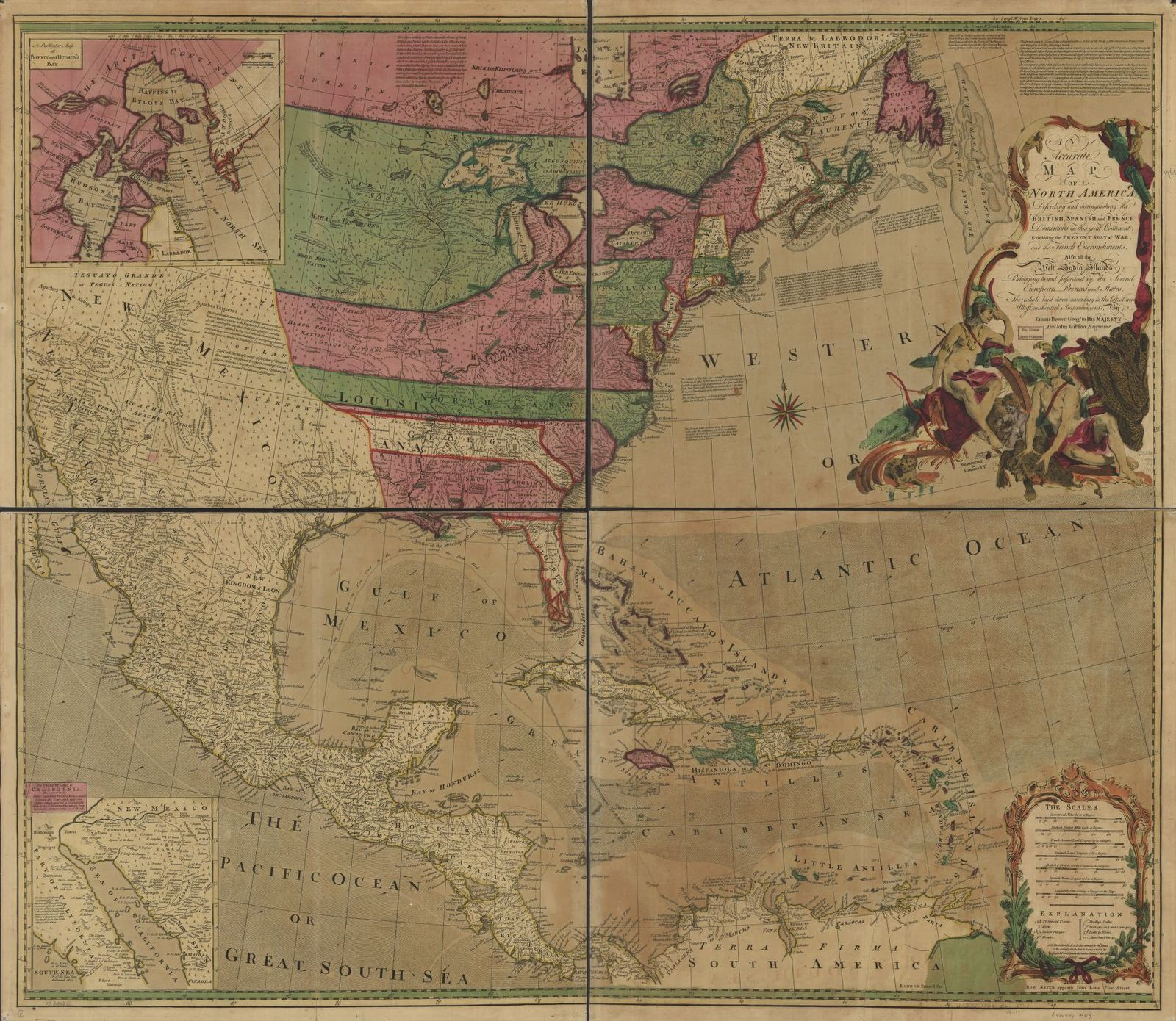 An accurate map of North America. Describing and distinguishing the British, Spanish and French dominions on this great continent; exhibiting the present seat of war, and the French encroachments. Also all the West India Islands belonging to, and possessed by the several European princes and states. The whole laid down according to the latest and most authentick improvements,