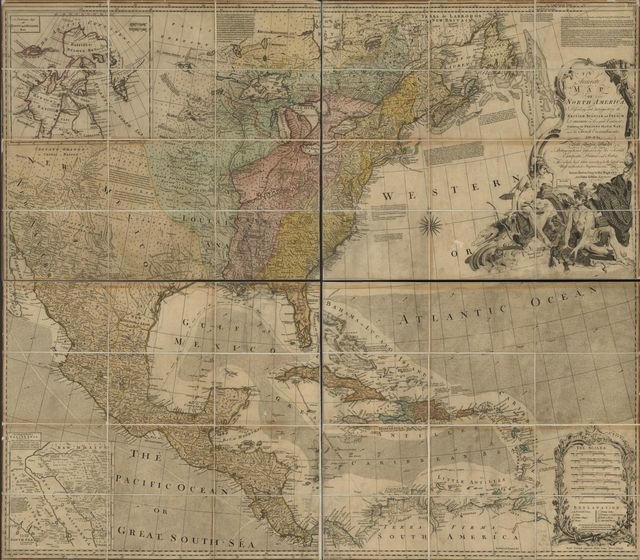 An accurate map of North America. Describing and distinguishing the British, Spanish and French dominions on this great continent; exhibiting the present seat of war, and the French encroachments. Also all the West India Islands belonging to, and possessed by the several European princes and states.