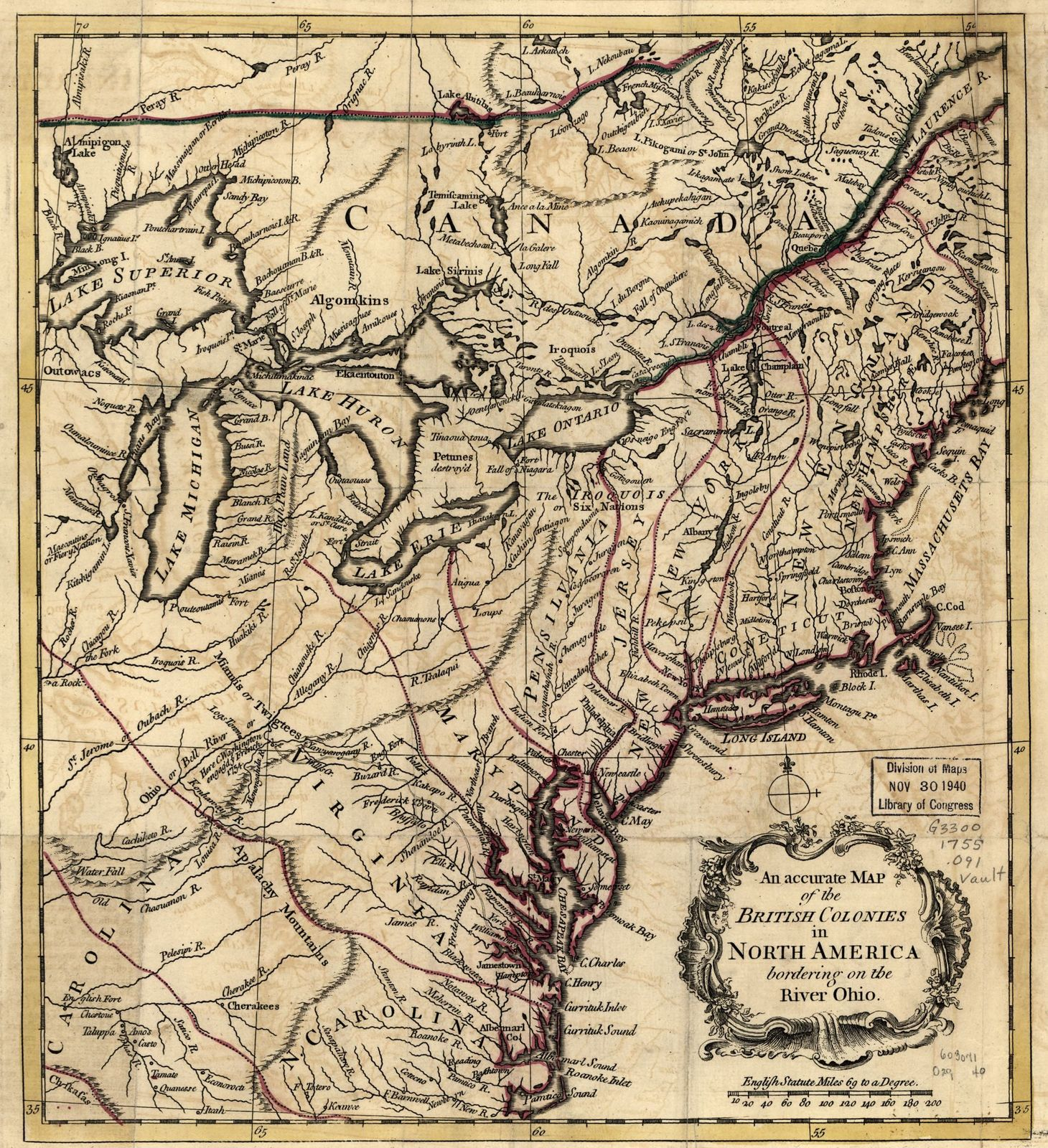 An accurate map of the British colonies in North America bordering on the river Ohio.