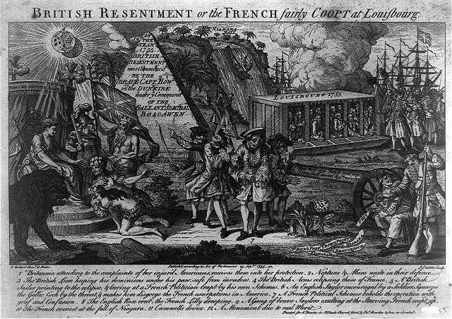 British resentment, or The French fairly coopt at Louisbourg / L. Boitard, invt. et delin. ; J. June, sculp.