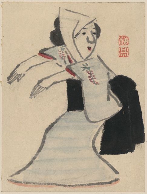 [Caricature of a woman dancing]