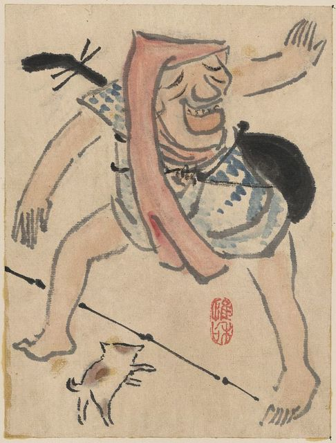 [Caricature of musician or actor dancing, with a cat at his feet]