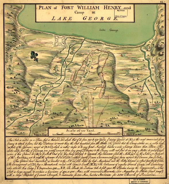 Plan of Fort William Henry and camp at Lake George.