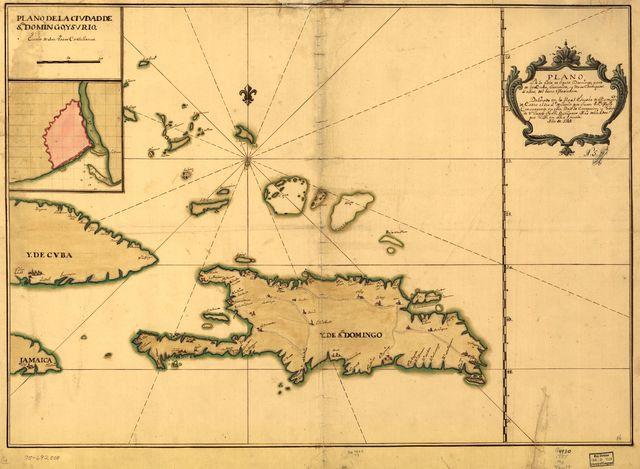 Plano de la Ysla de Santo Domingo, parte de las Cuba, Jamaica y otras contiguas a ellas, del seno mexicano.