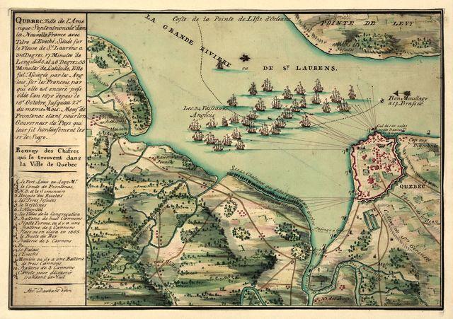 Qubbec, ville de l'Amerique septentrionale dans la Nouvelle France avec titre d'Eveché située sur le fleuve de St. Laurens a 310 degrez 17 minutes de longitude et 46 degrez 55 minutes de latitude : elle fut Assiegée par les Anglois sur les Francois par qui elle est encore possédée l'an 1670 depuis le 16e octobre jusqu'au 22e du meme Mois : monsr de frontenac etant pour lors gouverneur du pays qui leur fit hontue sement lever le siege /