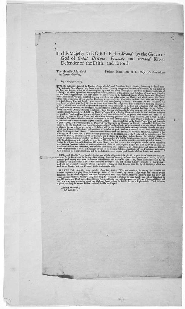 Scheme for the settlement of a New Colony to the Westward of Pennsylvania, for the enlargement of his Majesty's dominions in America, for the further promotion of the Christian religion among the Indian natives, and for the more effectual securi