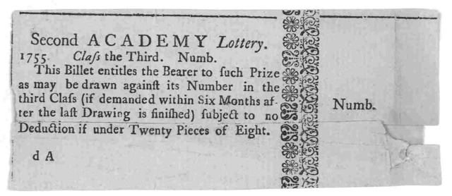 Second Academy Lottery 1755. Class the third. Numb. This billet entitles the bearer to such prize as may be drawn against its number in the third class (if demanded within six months after the last drawing is finished) subject to no deduction if