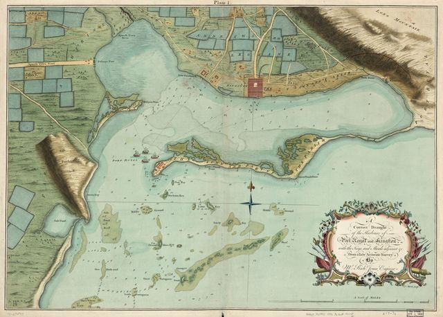 A correct draught of the harbours of Port Royal and Kingston, with the keys and shoals adjacent &c. from a late accurate survey, by Mr. Richd Jones, engineer.