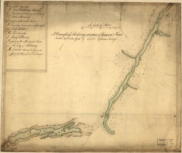 A draught of Lake George, and part of Hudson's River taken September 1756