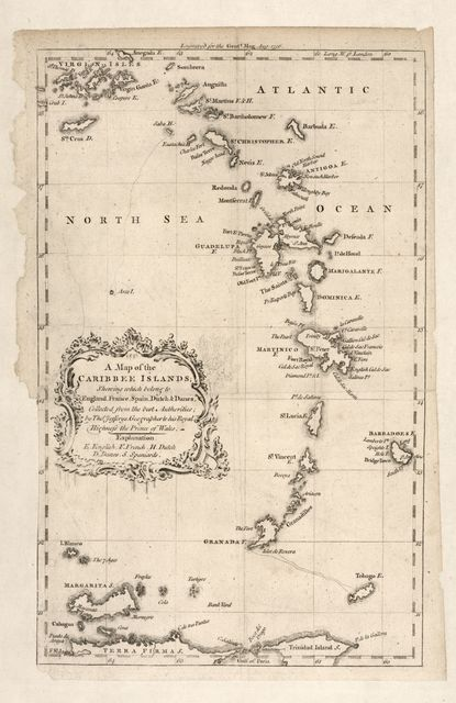 A map of the Caribbee Islands : shewing which belong to England, France, Spain, Dutch & Danes collected from the best authorities /