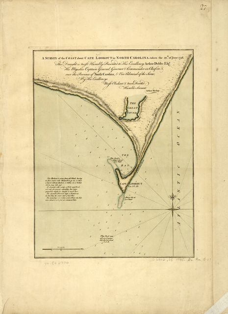 A survey of the coast about Cape Lookout in North Carolina, taken the 29th of June,1756.