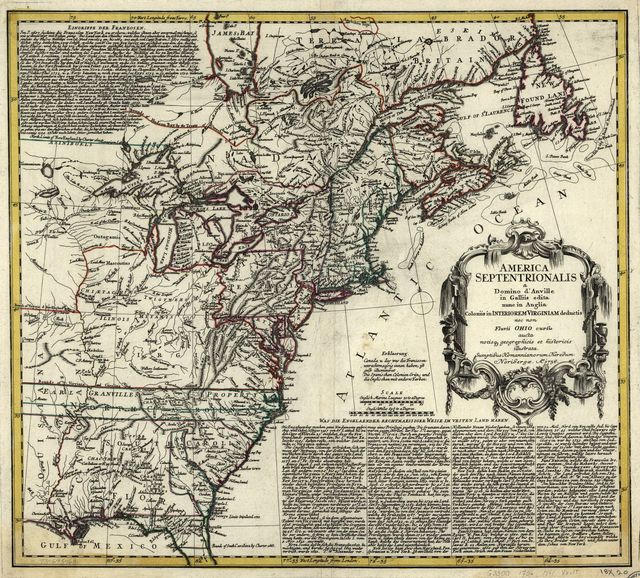 America Septentrionalis a Domini d'Anville in Galliis edita nunc in Anglia. Coloniis in interiorem Virginiam deductis nec non Fluvii Ohio cursu aucta notisque geographicis et historicis illustrata.