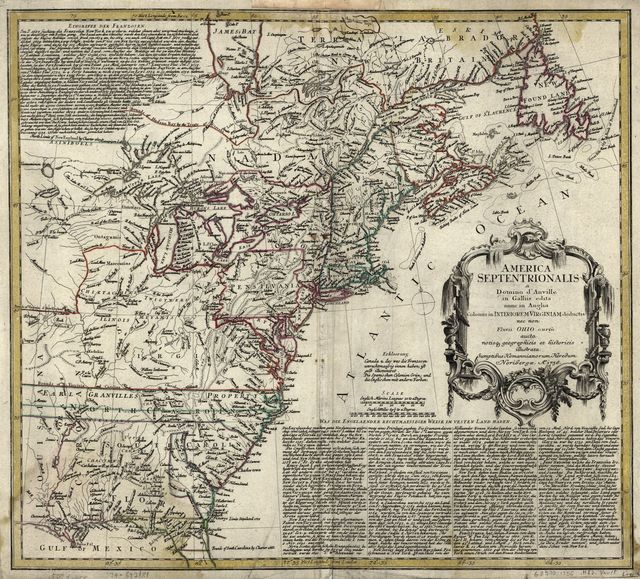 America Septentrionalis a Domino d'Anville in Galliis edita nunc in Anglia. Coloniis in interiorem Virginiam deductis nec non Fluvii Ohio cursu aucta notisque geographicis et historicis illustrata.
