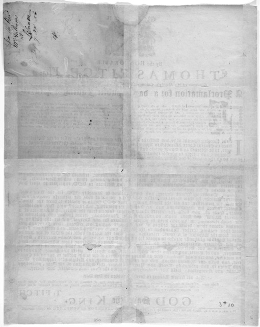 By the Honourable Thomas Fitch, Esq; Governor of His Majesty's Colony of Connecticut in New-England, in America a proclamation for a day of public fasting & prayer ....New-London March the 8th 1756, Printed by Timothy Green, printer to the Gover