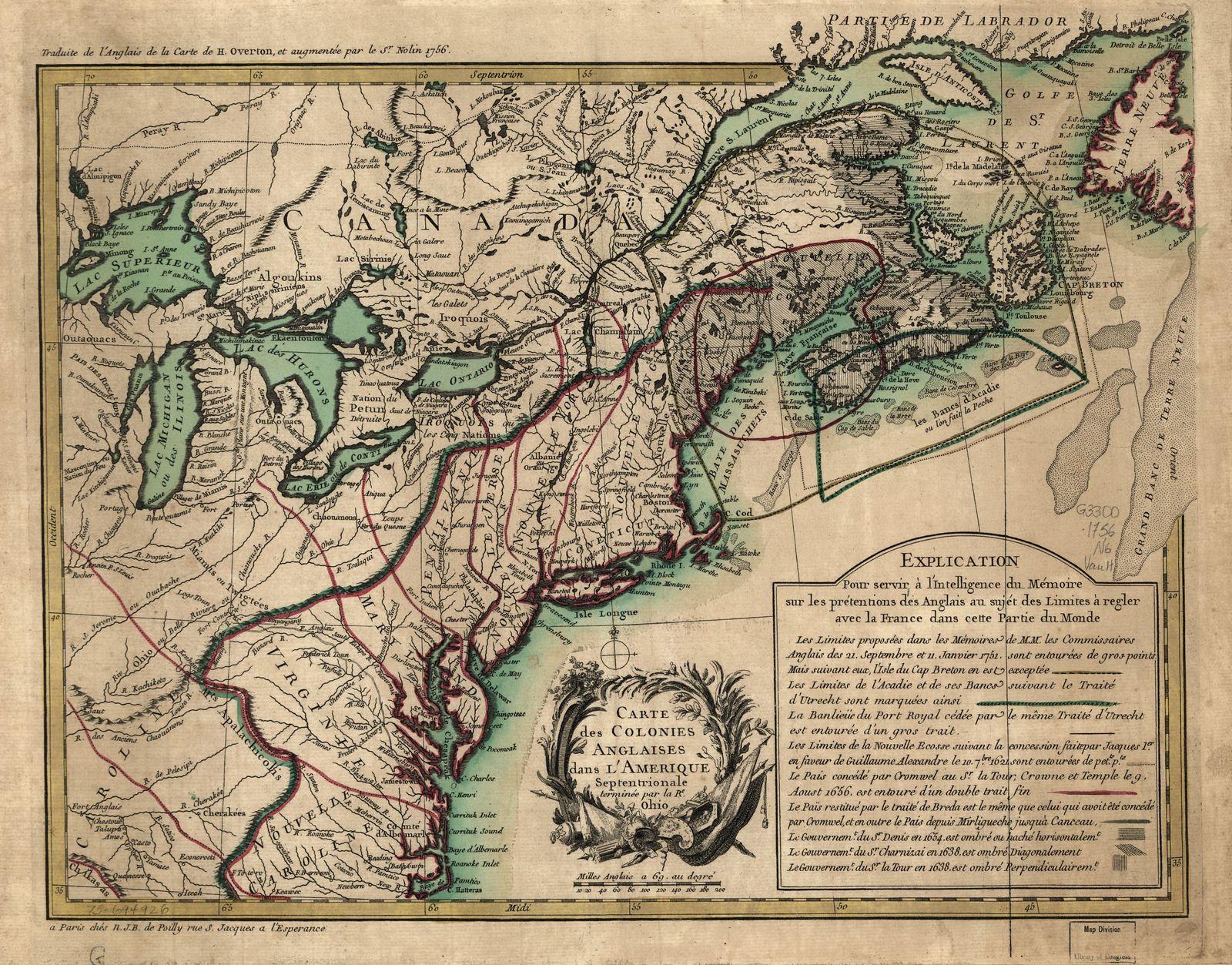 Carte des colonies anglaises dans l'Amérique septentrionale, terminée par la re. Ohio.