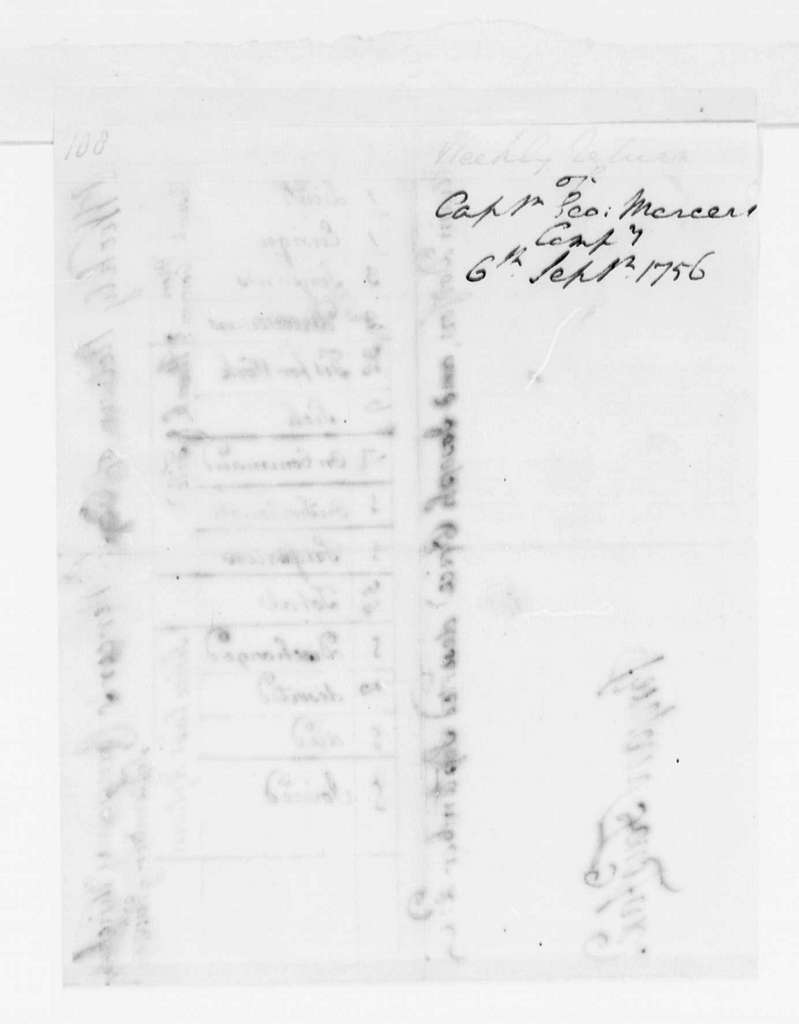 George Washington Papers, Series 4, General Correspondence: George Mercer, September 6, 1756, Report on Troop Strength