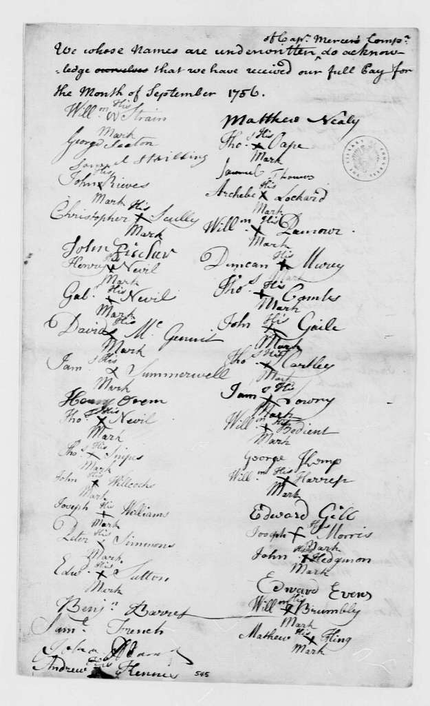 George Washington Papers, Series 4, General Correspondence: George Mercer, September 1756, Company Payroll Receipts