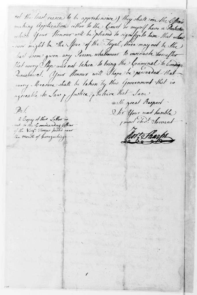 George Washington Papers, Series 4, General Correspondence: Horatio Sharpe to Robert Dinwiddie, March 30, 1756