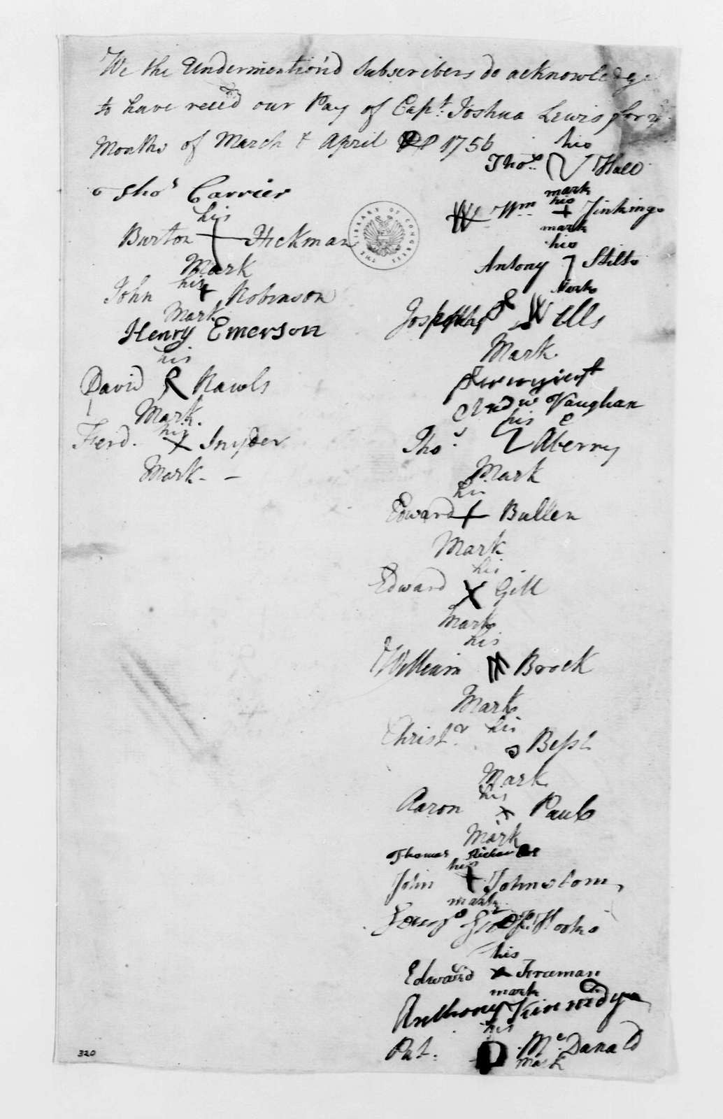 George Washington Papers, Series 4, General Correspondence: Joshua Lewis, April 1756, Company Payroll Receipts
