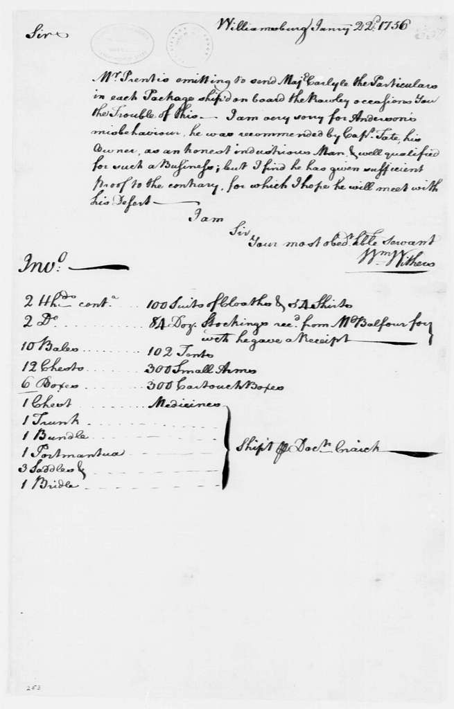 George Washington Papers, Series 4, General Correspondence: William Withers to George Washington, January 22, 1756, with Invoice