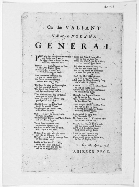 On the valiant New-England general. Rehoboth, April 5, 1756.
