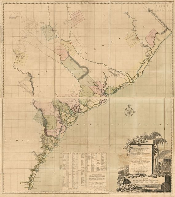 A map of South Carolina and a part of Georgia. Containing the whole sea-coast; all the islands, inlets, rivers, creeks, parishes, townships, boroughs, roads, and bridges; as also, several plantations, with their proper boundary-lines, their names, and the names of their proprietors.