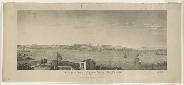 A view of the City of Boston the capital of New England, in North America / drawn on the spot by his excellency Governor Pownal.