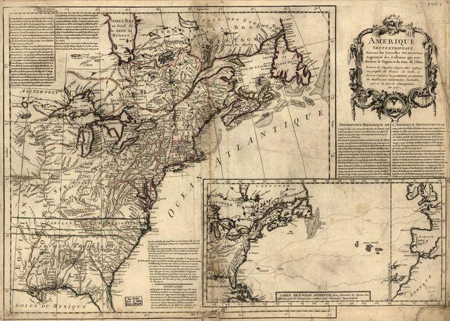 Amérique septentrionale, suivant les nouvelles découvertes, augmenté des collonies qui sont derrière la Virginie et cour de l'Ohio. Traduit de l'anglois d'apres Thos. Gefferys géographe du Prince de Galle, et divisée suivant les pretendues pretentions des Anglois, sans néantmoins entendre, que ce la tire à concequence, en 1757.