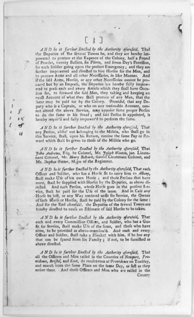 At the General Assembly of the Governor and Company of the English Colony of Rhode Island; and Providence-plantations, in New-England, in America; begun in consequence of warrants issued by his honor the Governor, and holden at Newport in said c