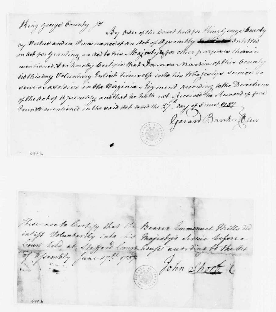 George Washington Papers, Series 4, General Correspondence: Gerard Banks to James Martin, June 27, 1757, Enlistment Certificate