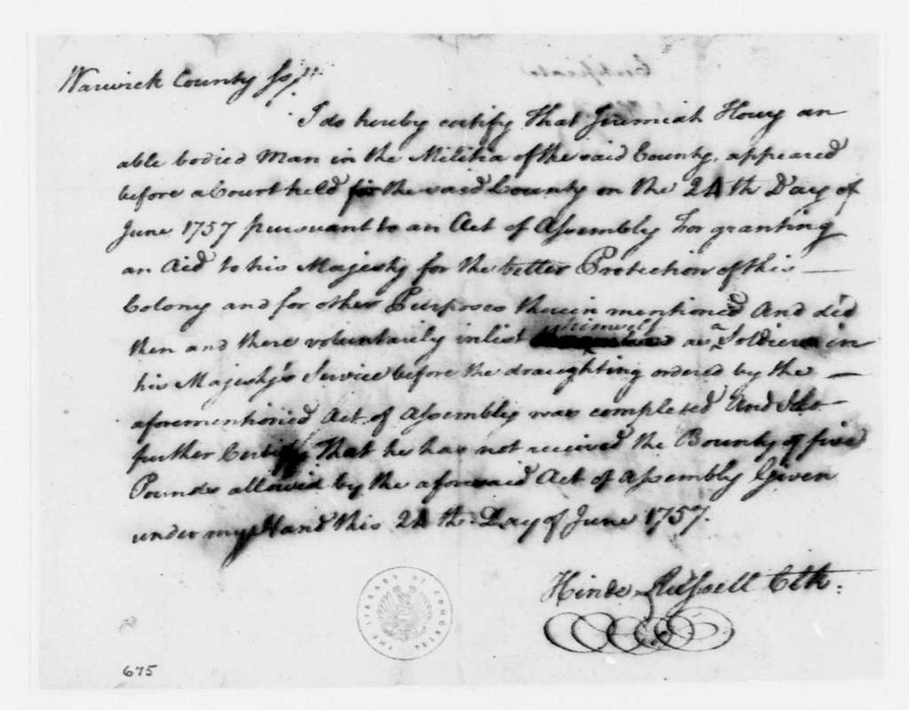 George Washington Papers, Series 4, General Correspondence: Hinds Russell to Jeremiah Horry, June 24, 1757, Enlistment Certificate