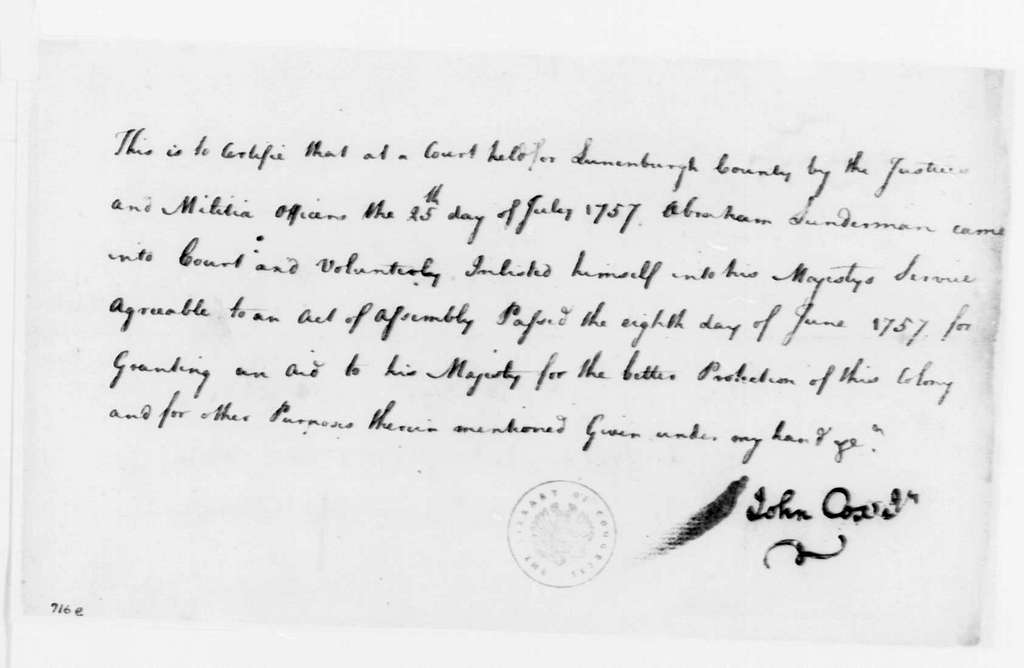 George Washington Papers, Series 4, General Correspondence: John Cox Jr. to Abraham Lunderman, July 25, 1757, Enlistment Certificate